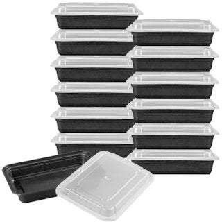 Premium Meal Prep Food Containers with Lids (Set of 12). Food storage for parties and outdoor activities - Black