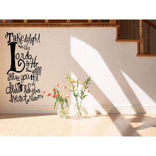Delight in the Lord - Psalms 374 quote Wall Art Sticker Decal