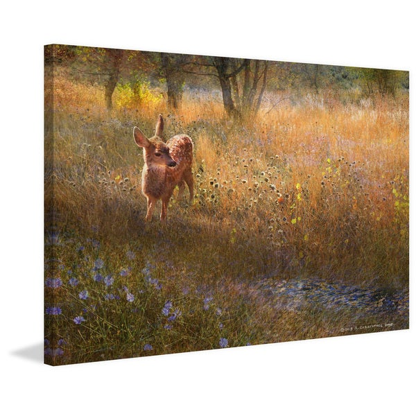 Marmont Hill 'Flowered Meadow Fawn' by Chris Vest Painting Print on Canvas