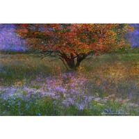 Marmont Hill 'Lone Tree Flowered Meadow' by Chris Vest Painting Print on Canvas - Multi-color