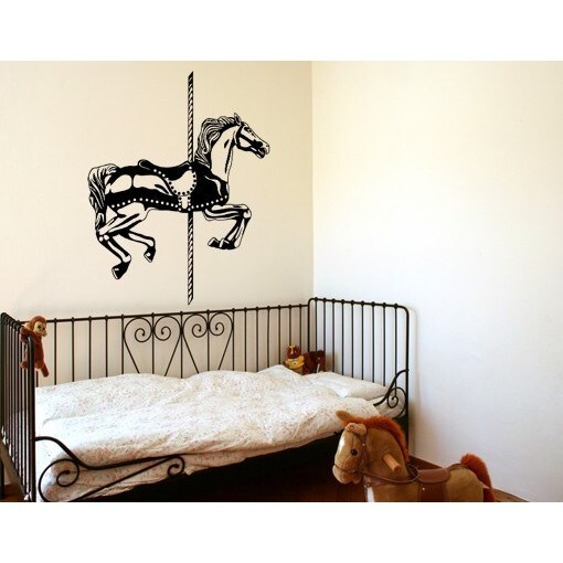 S&A Carousel Horse Set Wall Decal (28in x 34in Hazelnut),...
