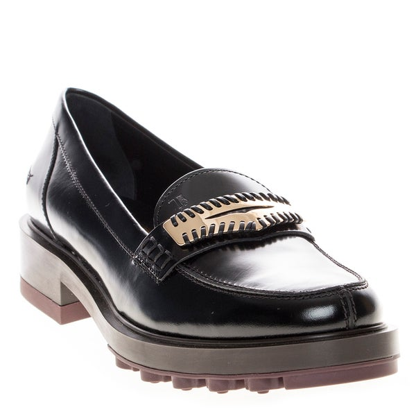df6e3da64d67 Shop Tod s Platform Patent Leather Penny Loafers - Free Shipping ...