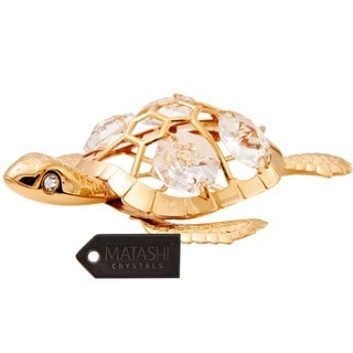Matashi 24k Goldplated Turtle Ornament Made with Genuine Matashi Crystals