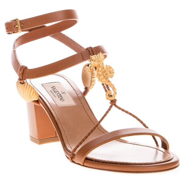 eb85607e824 Valentino Women  x27 s Tan Leather Block Heel Sandal with Shell Charms