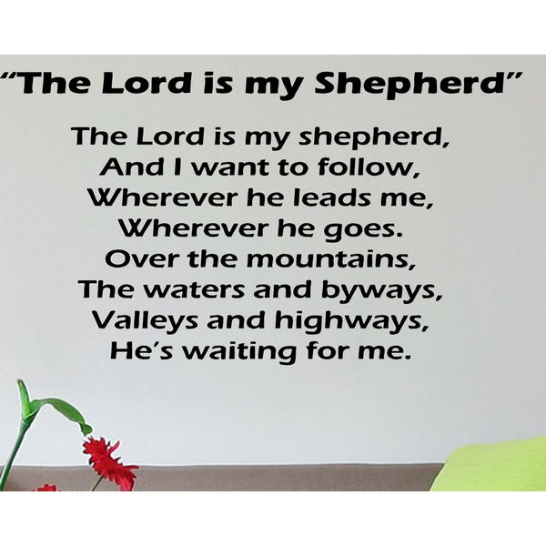 the lord is my shepherd  psalm 23 writing wall art