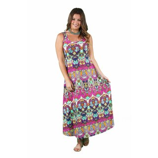 24/7 Comfort Apparel Women's Plus Size Bright Bohemian Tank Maxi
