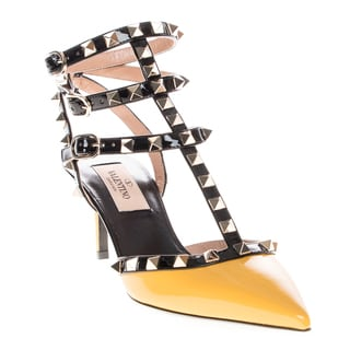 Valentino Women's Yellow/ Black Patent Leather Rockstud Ankle Strap Heels