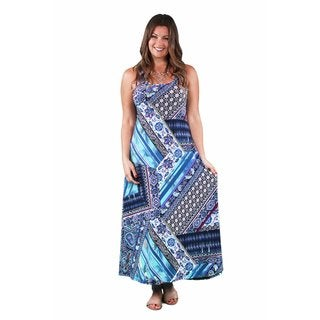 24/7 Comfort Apparel Women's Plus Size Floral Mosaic Scoop-Neck Tank Maxi