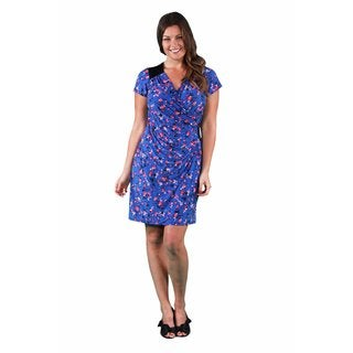 24/7 Comfort Apparel Women's Plus Size Blue-Pink Rose Faux Wrap Knee-Length Dress