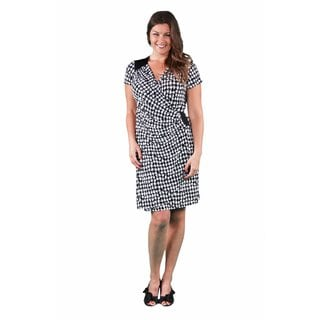 24/7 Comfort Apparel Women's Plus Size Houndstooth Faux Wrap Knee-Length Dress