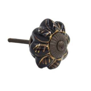 Black Golden Leaf Melon Shaped Knob Pull (Pack of 6) - White