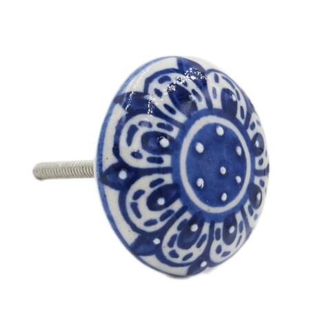 Zinnia Flower Ceramic Drawer/ Door/ Cabinet Pull Knob (Pack of 6)