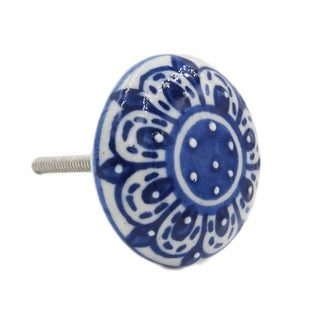 Zinnia Flower Ceramic Drawer/ Door/ Cabinet Pull Knob (Pack of 6)