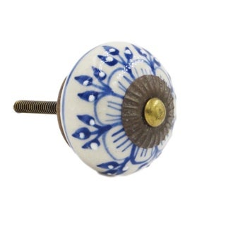 Blue Zinnia Flower Ceramic Drawer/ Door/ Cabinet Pull Knob (Pack of 6)