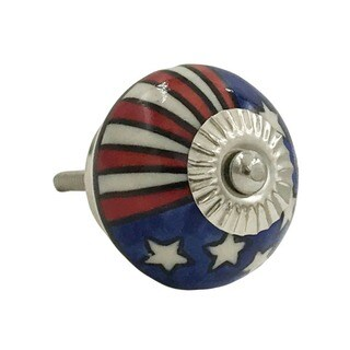 US Flag Patriotic Ceramic Knob Pull for Drawers/ Cabinets and Doors (Pack of 6)