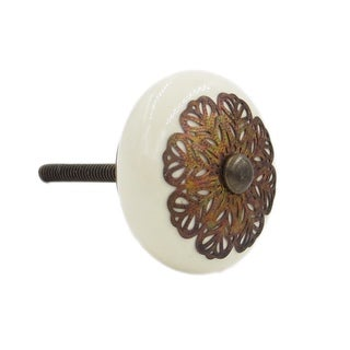 Cream Strewn Flat Knob Pull for Drawers/ Cabinets and Doors (Pack of 6)