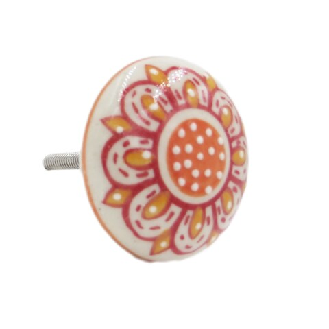 Orange Floral Flat Knob Pull for Drawers/ Cabinets and Doors (Pack of 6)
