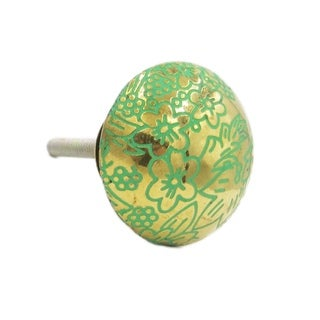 Brass Green Floral Knob Pull for Drawers/ Cabinets and Doors (Pack of 6)