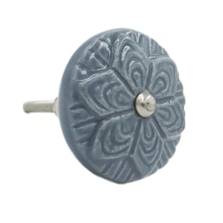 Grey Wheel Flower Knob Pull for Drawers/ Cabinets and Doors (Pack of 6)