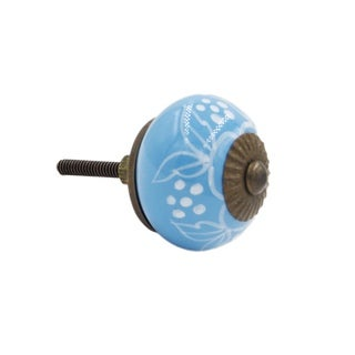 Turquoise Flower Knob Pull for Drawers/ Cabinets and Doors (Pack of 6)