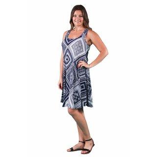 24/7 Comfort Apparel Women's Plus Size Blue-Cream Rectangle Print Tank Dress
