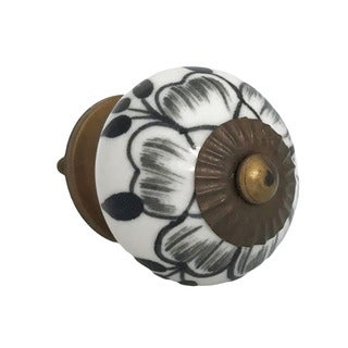 Black Buttercup Knob Pull for Drawers/ Cabinets and Doors (Pack of 6)