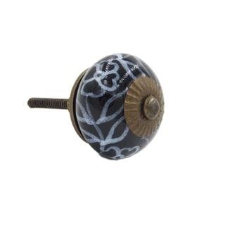 Black Floral Ceramic Decorative Drawer Pull Knob (Pack of 6)