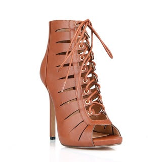 Fahrenheit Giselle-21 Lace-up Cut out Women's Caged High Heel Sandal