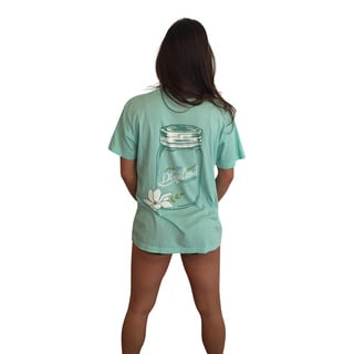 Mason Jar Collection Women's Aqua Short Sleeve Pocket T-Shirt