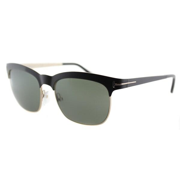 cf48e362e5591 Tom Ford Elana TF 437 05R Black And Gold Square Metal Sunglasses