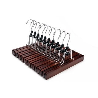 J.S. Hanger Solid Wooden Collection Slack Hanger/ Wood Skirt Hangers/ Retro Finished (Set of 10)