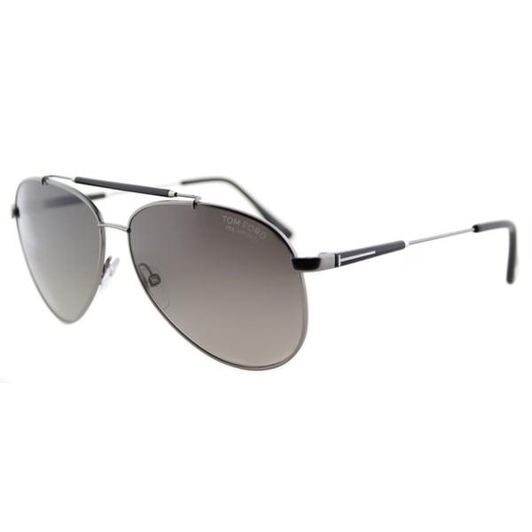 7b20a6be07 Shop Tom Ford Rick TF 378 10D Ruthenium Aviator Metal Sunglasses ...