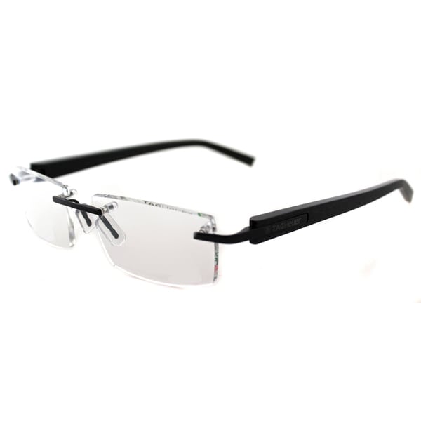 f5c76247d0 Shop TAG Heuer TAG 8102 009 Brushed Black Metal Rimless Eyeglasses ...