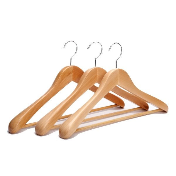 shop extra wide rounded shoulders wood coat hangers pack of 3 free shipping on orders over. Black Bedroom Furniture Sets. Home Design Ideas