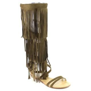 MI.IM ELLE Fringe Knee High Gladiator Sandals