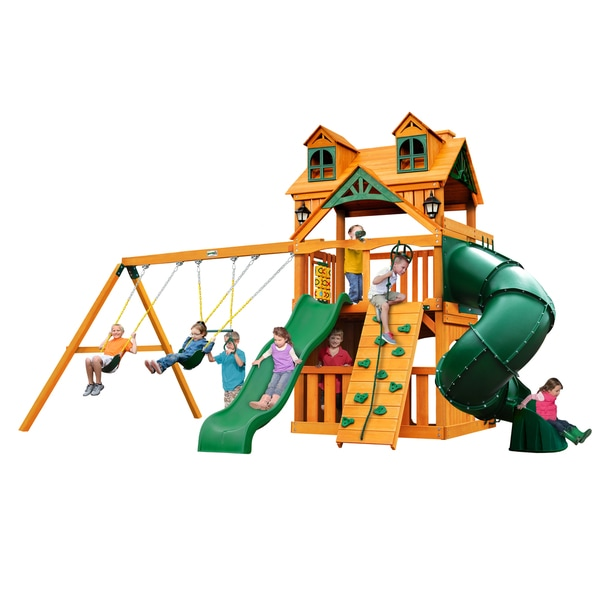 Gorilla Playsets Malibu Extreme Clubhouse Swing Set with Amber Posts