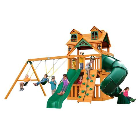 Gorilla Playsets Mountaineer Clubhouse Cedar Swing Set with Malibu Wood Roof and Natural Cedar Posts - Brown