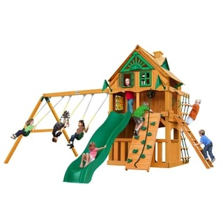Gorilla Playsets Chateau Clubhouse Treehouse Swing Set with Fort Add-On and Amber Posts