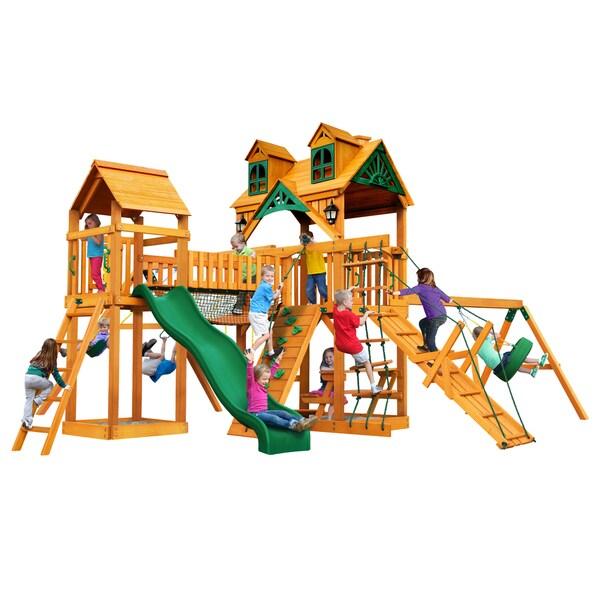 Gorilla Playsets Malibu Pioneer Peak Cedar Swing Set with Natural Cedar Posts - Brown