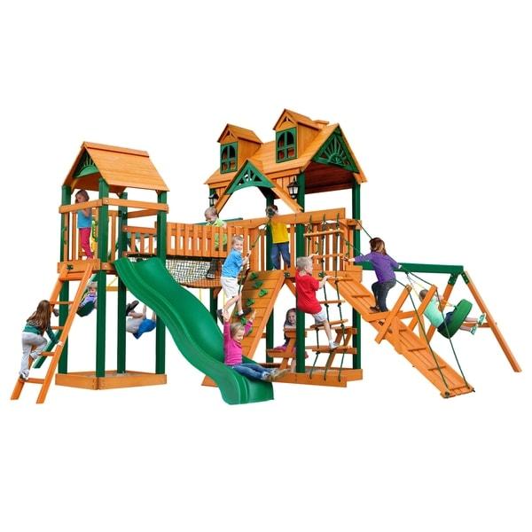 Gorilla Playsets Pioneer Peak Cedar Swing Set with Malibu Wood Roof and Timber Shield Posts