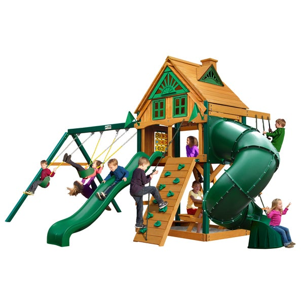 Gorilla Playsets Mountaineer Treehouse Swing Set with Fort Add-On and Timber Shield