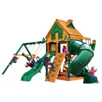 Gorilla Playsets Mountaineer Treehouse Cedar Swing Set with Fort Add-On and Timber Shield Posts