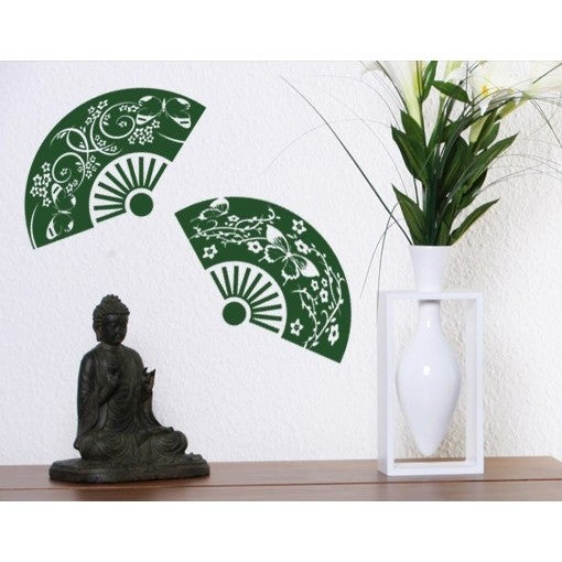 S&A Two Fans Wall Decal (24in x 9in Black) (Vinyl)
