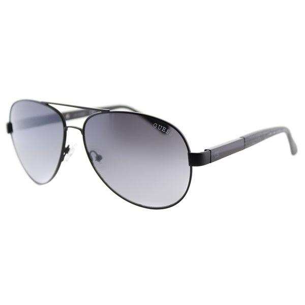 0e0c8fb76c Shop Guess GU 6862 05C Black Metal Aviator Sunglasses Grey Gradient ...