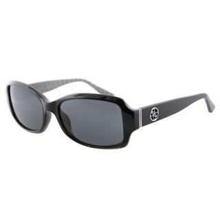 Guess GU 7410 01A Black on Texture Plastic Oval Sunglasses Grey Lens