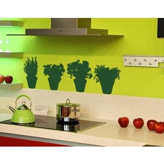 4 Herbs Pots Wall Decal