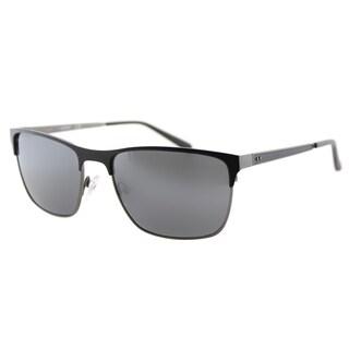 Guess GU 6878 02C Matte Black Metal Rectangle Sunglasses Grey Mirror Lens