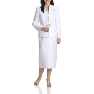 Ella Belle Women's Rhinestone Embellished 3 Piece Skirt Suit