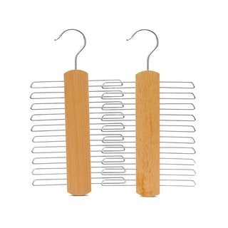 J.S. Hanger Natural 20-ties/ Belts Hanger/ Beech Wood Tie Multifunctional Accessories Hanger/ Chrome Hardware (Pack of 2)