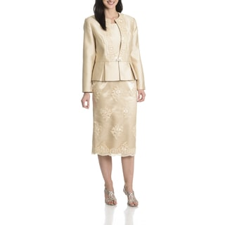 Ella Belle Women's Soutache Embellished Peplum 3 Piece Skirt Suit